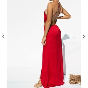 Red Slip Dress from Saboskirt with slit